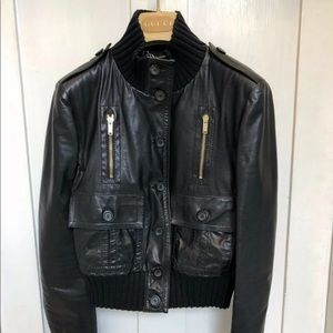 💯 Auth Madonna Gucci Italy black genuine leather bomber jacket gold hardware